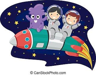 Stickman Kids Rocket