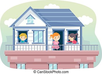 Stickman Kids Rooftop House Illustration