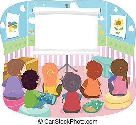 Stickman Kids Room Projector - Stickman Illustration of Kids...