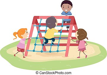 Stickman Kids Rope Climber Playground Illustration