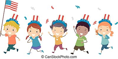 Stickman Kids Run Flag Patriot Day Illustration