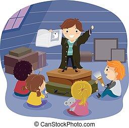 Stickman Kids Scary Story Attic - Stickman Illustration of...