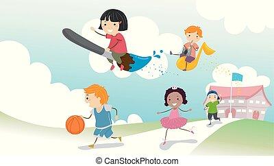 Stickman Kids School Activity Illustration