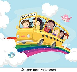 Stickman Kids School Bus Rainbow