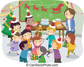 Stickman Kids School Christmas Party - Illustration of...