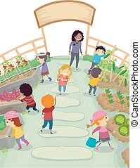 Stickman Kids School Garden Illustration