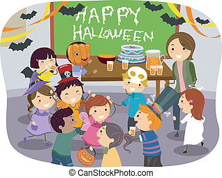 Stickman Kids School Halloween Party