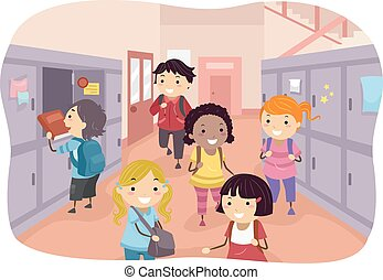 Stickman Kids School Hallway - Illustration of Kids...