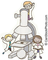 Stickman Kids Scientist Microscope Illustration