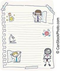 Stickman Kids Scientist Paper Illustration