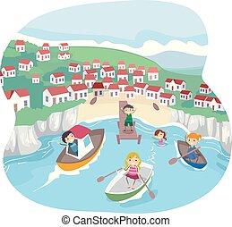 Stickman Kids Seaside Village Life Illustration