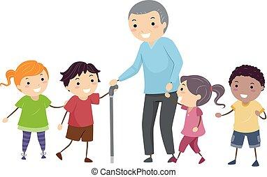 Stickman Kids Senior Man Illustration