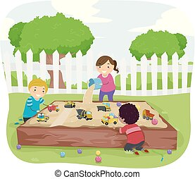 Stickman Kids Sensory Sand Box Illustration