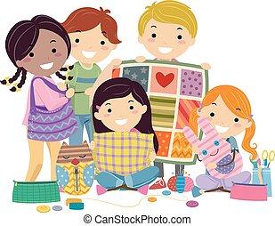 Stickman Kids Sewing Crafts - Stickman Illustration of Kids ...