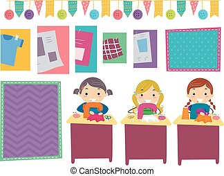 Stickman Kids Sewing Party Girls