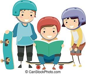 Stickman Kids Skateboard Trick Book Illustration