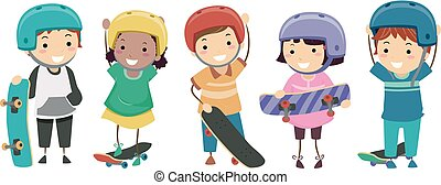 Stickman Kids Skateboarders Illustration