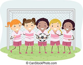 Stickman Kids Soccer Girls