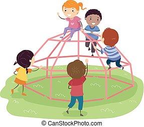 Stickman Kids Space Pod Dome Climber Playground