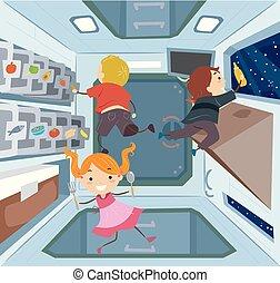 Stickman Kids Space Station Kitchen Illustration