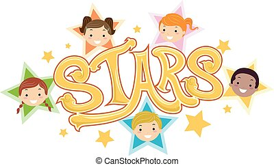 Stickman Kids Stars Illustration