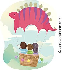 Stickman Kids Stegosaurus Hot Air Balloon