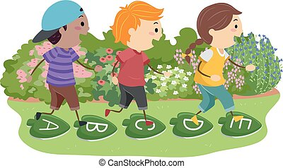 Illustration of Stickman Kids Hopping over Stepping Stones with Letters and Leaf Design