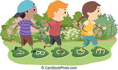 Stickman Kids Stepping Stones Leaves Illustration
