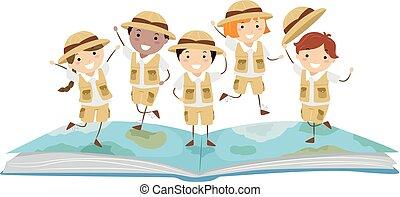 Stickman Kids Story Book Explorer Illustration