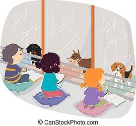 Stickman Kids Story Telling Dog Shelter