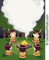 Stickman Kids Story Telling Frame Background Illustration