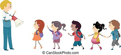 Stickman Kids Student Drill - Illustration of Kids Following...