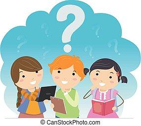 Stickman Kids Student Think Question Marks