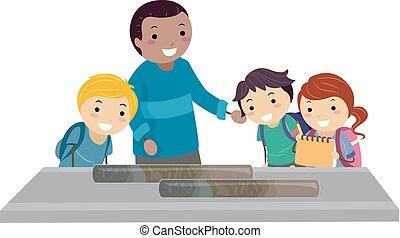 Stickman Kids Study Sediment Sample Oceanography