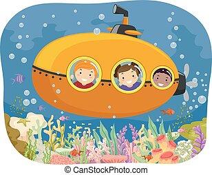 Stickman Kids Submarine Coral Reefs Illustration