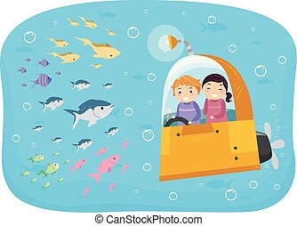 Stickman Kids Submarine Fish Illustration