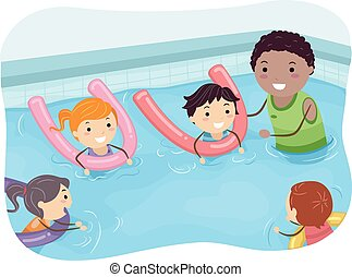 Stickman Kids Swimming Coach - Illustration of Kids Being...