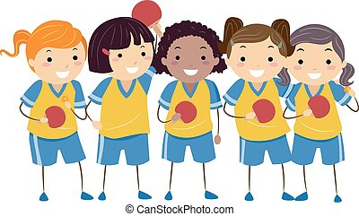 Stickman Kids Table Tennis Girls - Illustration of Little...