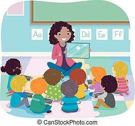 Stickman Kids Teacher Book Story Illustration
