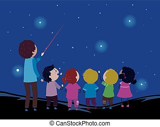 Stickman Kids Teacher Laser Point Star