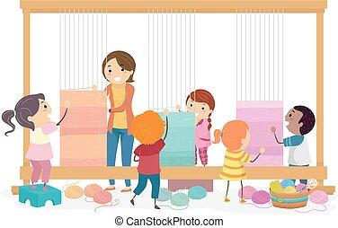 Stickman Kids Teacher Tapestry Illustration