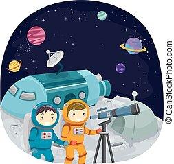 Stickman Kids Telescope Moon
