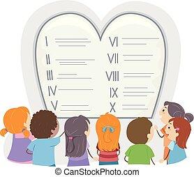 Stickman Kids Ten Commandments Illustration