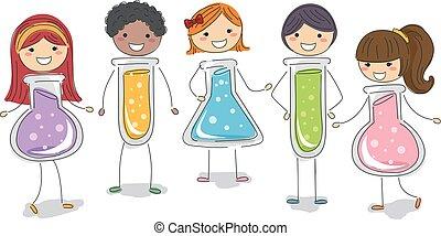 Stickman Kids Test Tubes