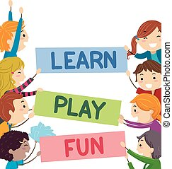 Stickman Kids Text Learn Play Fun Banners