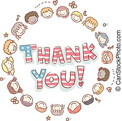 Stickman Kids Thank You Memorial Day Illustration