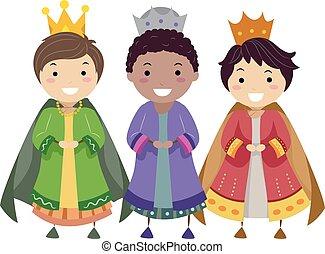 Stickman Kids Three Wise Men Illustration
