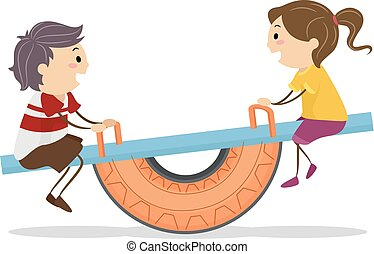 Stickman Kids Tire Seesaw Playground Illustration