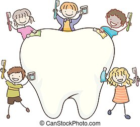 Stickman Kids Tooth Board Illustration