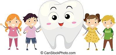 Stickman Kids Tooth Mascot Illustration